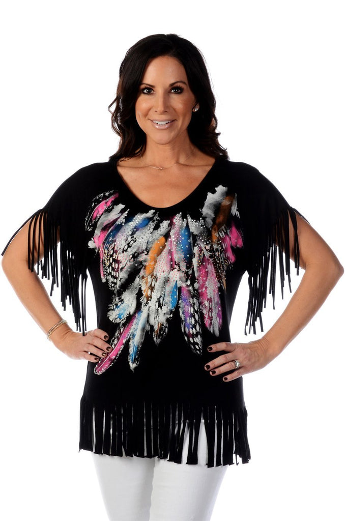 Liberty Wear Women's Top with Fringe and Feathers Black Front View