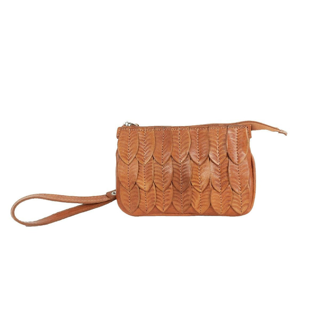 American West Freedom Feather Event Clutch Wristlet Golden Tan