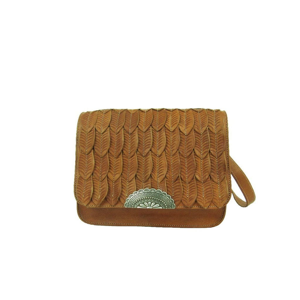 American West Freedom Feather Crossboyd Flap Bag Golden Tan