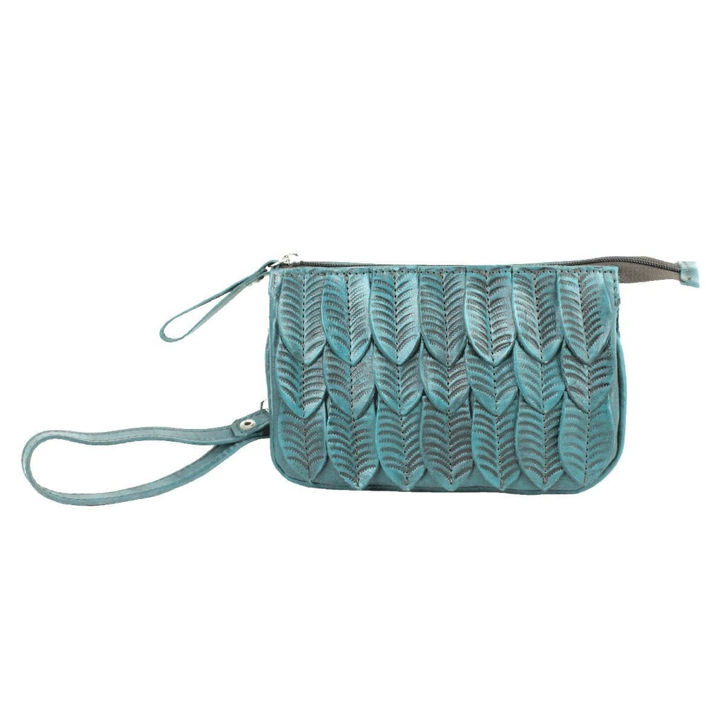 American West Freedom Feather Event Clutch Wristlet Turquoise