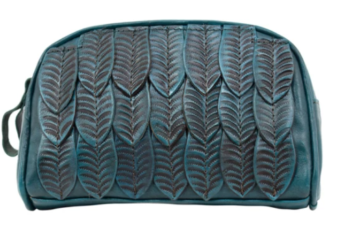 American West Freedom Feather Cosmetic Bag Dark Turquoise Front