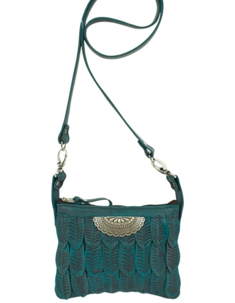 American West Freedom Feather Trail Rider Crossbody Hip Dark Turquoise Front