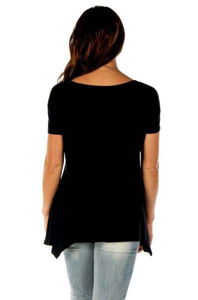 Liberty Wear Women's T-Shirt Feathers & Conchos Black Front View