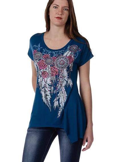 Liberty Wear Feathers & Conchos Mini Sharktail Top #117961B