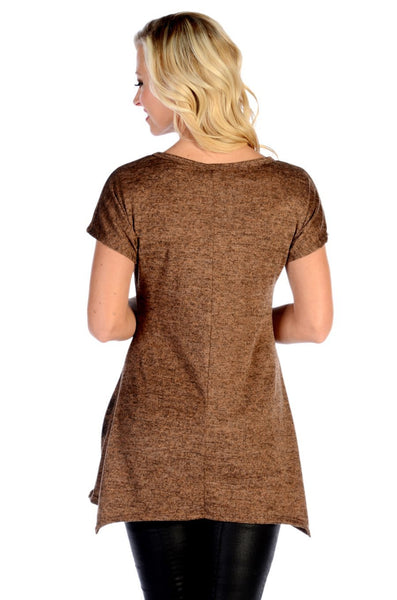 Liberty Wear Women's Top Split Med Hacci Brown Aztec Design Brown Front View