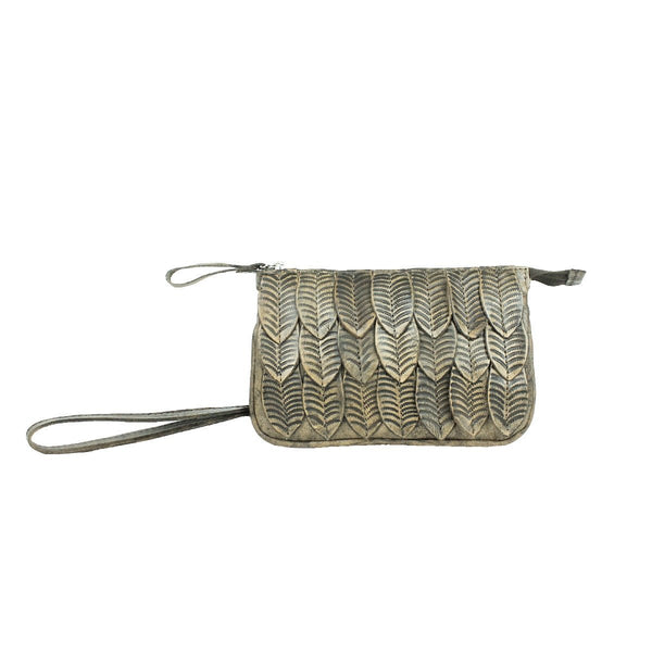 American West Freedom Feather Event Clutch Wristlet Distressed Charcoal