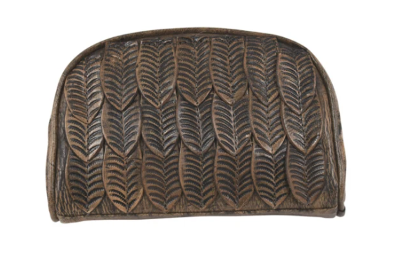 American West Freedom Feather Cosmetic Bag Distressed Charcoal Front