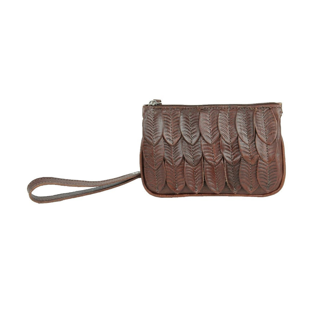American West Freedom Feather Event Clutch Wristlet Brown