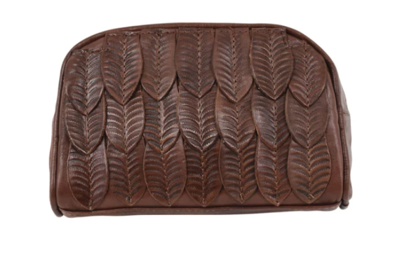 American West Freedom Feather Cosmetic Bag Dark Brown Front