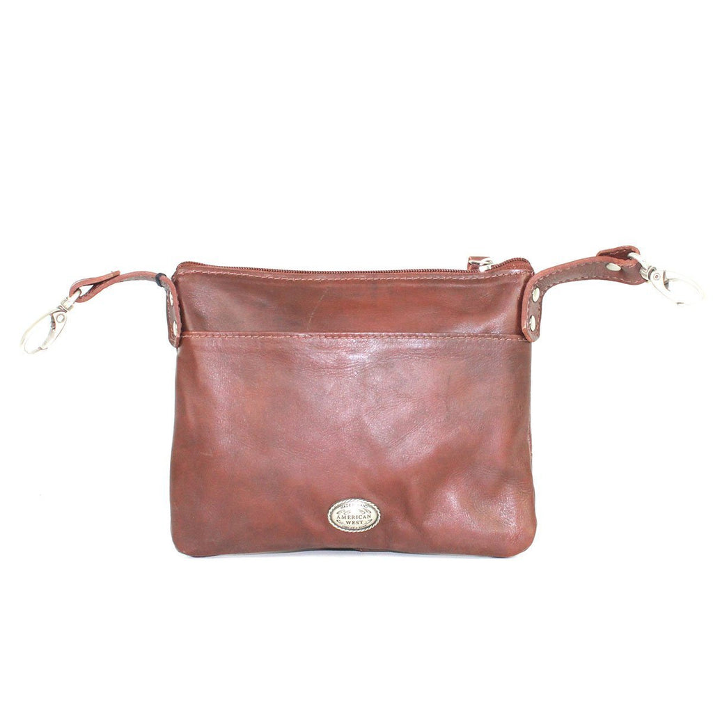 American West Freedom Feather Trail Rider Crossbody Hip Brown Back