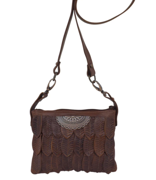 American West Freedom Feather Trail Rider Crossbody Hip Dark Brown Front