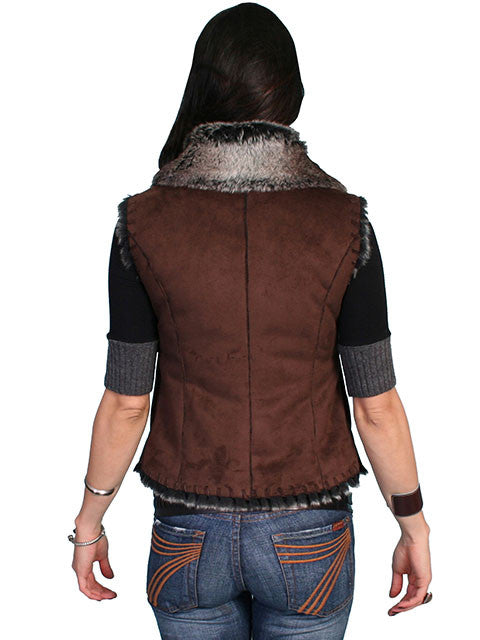 Honey Creek Faux Shearling Vest Brown, Back S-2XL