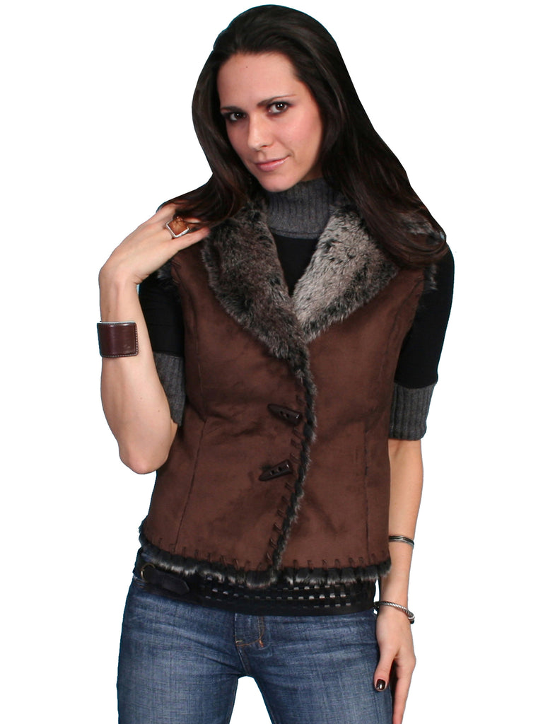 Honey Creek Faux Shearling Vest Brown, Front S-2XL