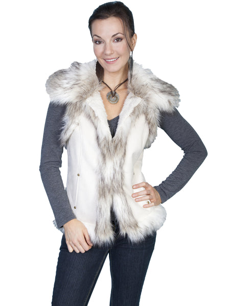 Scully Honey Creek Faux Fur Vest Cream, Off White Front M-2XL