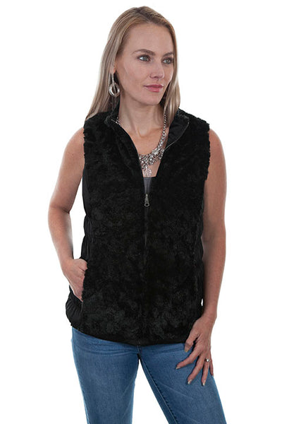 Scully Ladies' Honey Creek Faux Fur Vest Reversible Beige Front