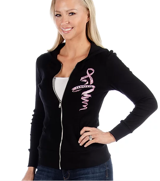 Liberty Wear Ladies' Hoodie Pink and Blue Wings Ribbon Front #8039