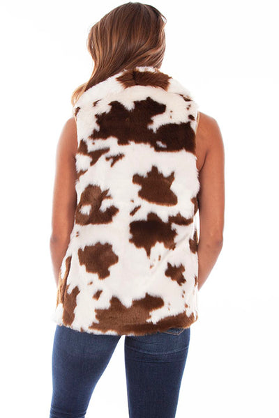 Scully Ladies' Honey Creek Faux Fur Vest in Calf Print Front