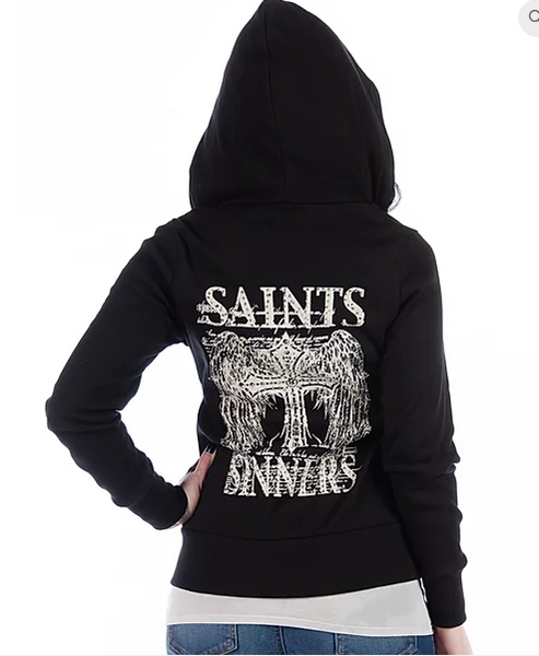 LIverty Wear Ladies' Hoodie Saints and Sinners #8080 Front