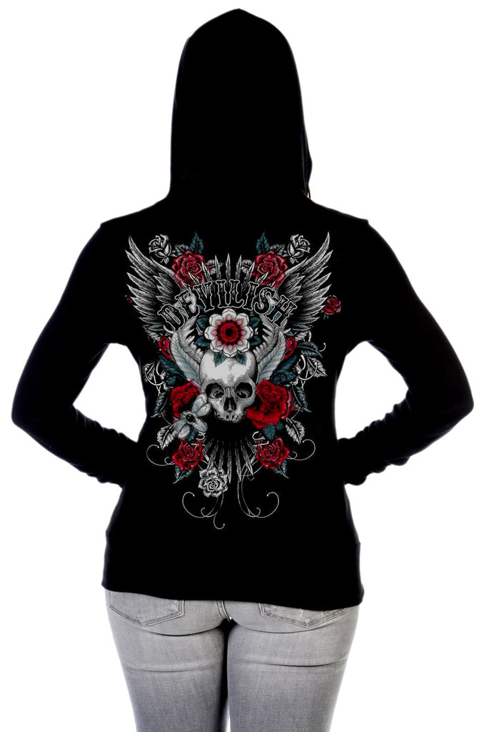 Liberty Wear Women's Hoodie Devilish Zip Front Skull on Reverse Back View