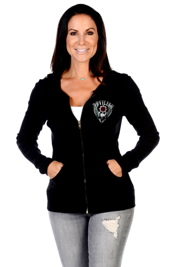 Liberty Wear Women's Hoodie Devilish Zip Front Skull Front View