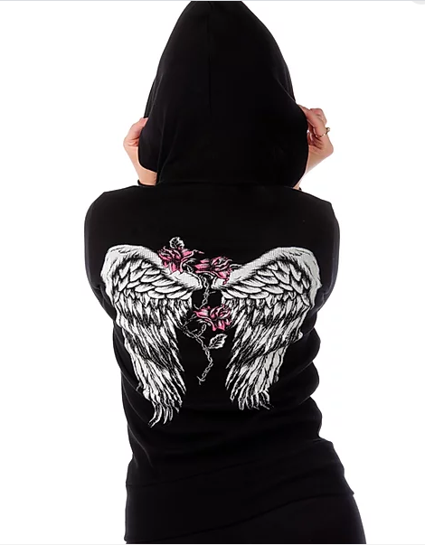 Liberty Wear Ladies' Barbed Wire and Roses Hoodie #8103 Back