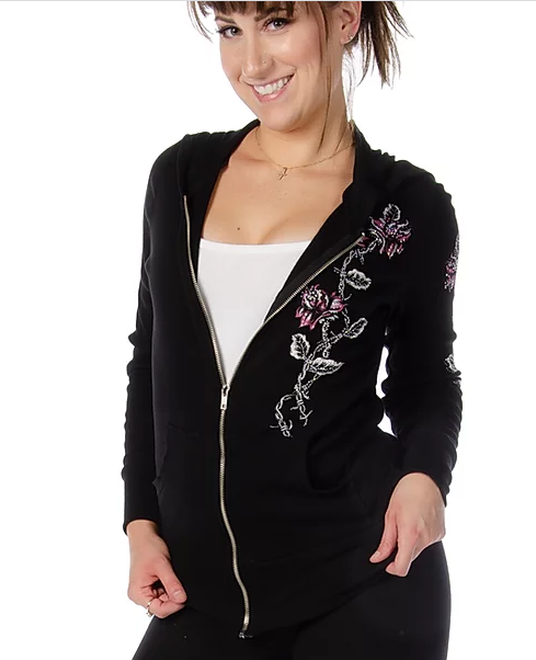 Liberty Wear Ladies' Barbed Wire and Roses Hoodie #8103 Front