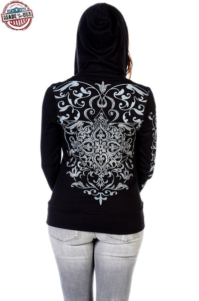 Liberty Wear Women's Hoodie Vintage Crystal Back