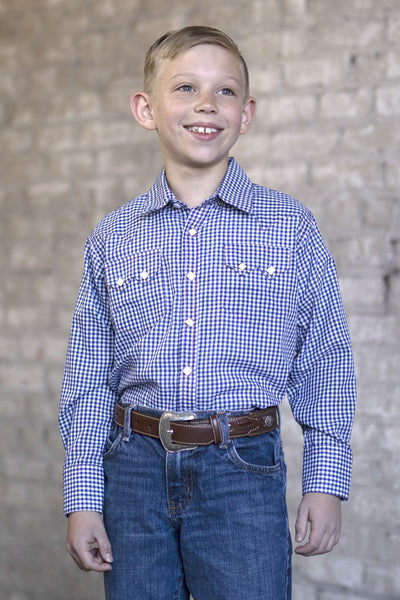 Rockmount Ranch Wear Children's Navy Check Shirt Tucked