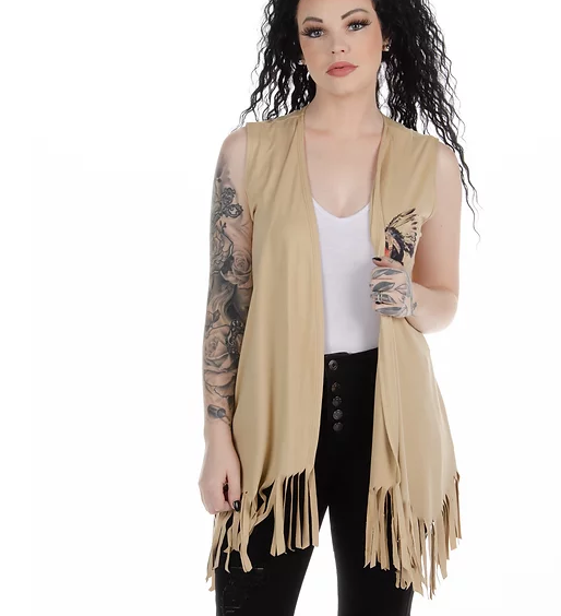 Liberty Wear Native Beauty Fringe Vest Back #118354