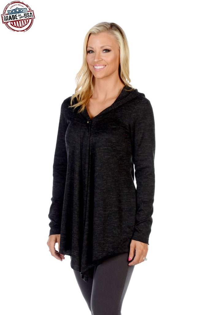 Liberty Wear Women's Cardigan Riding Hood Black Front