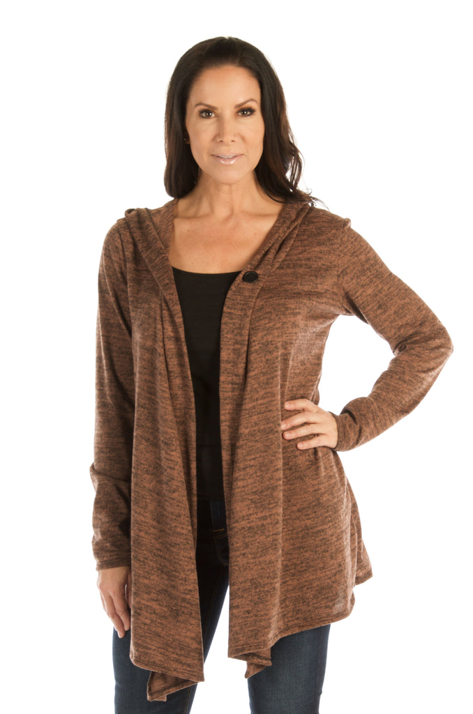 Liberty Wear Women's Cardigan Riding Hood Brown Front
