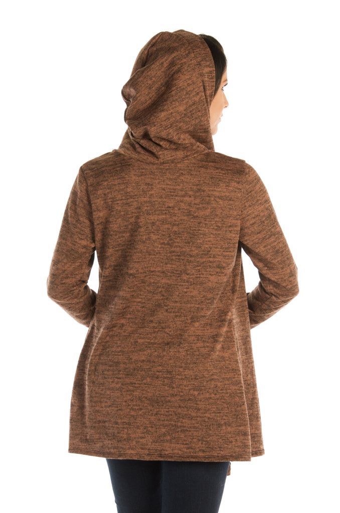 Liberty Wear Women's Cardigan Riding Hood Brown Back