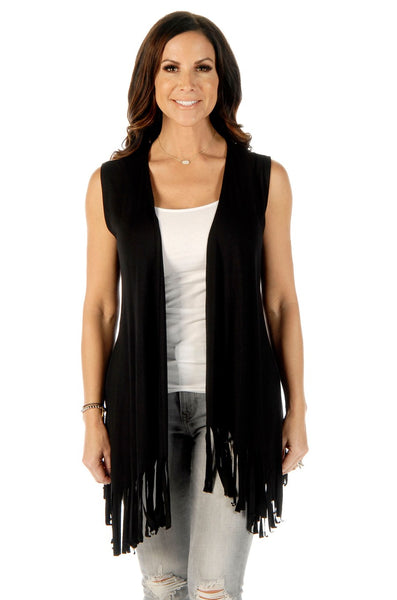 Liberty Wear Women's Vest Copper Steer Skull on Back Fringe Black Back View