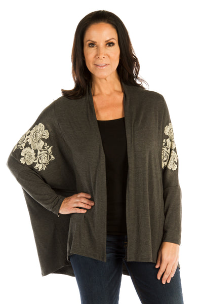 Liberty Wear Women's Cardigan with Roses Front