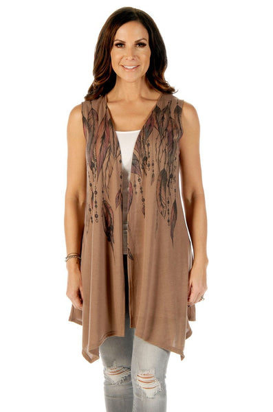Liberty Wear Women's Feathers & Bead Vest Dark Mocha Front