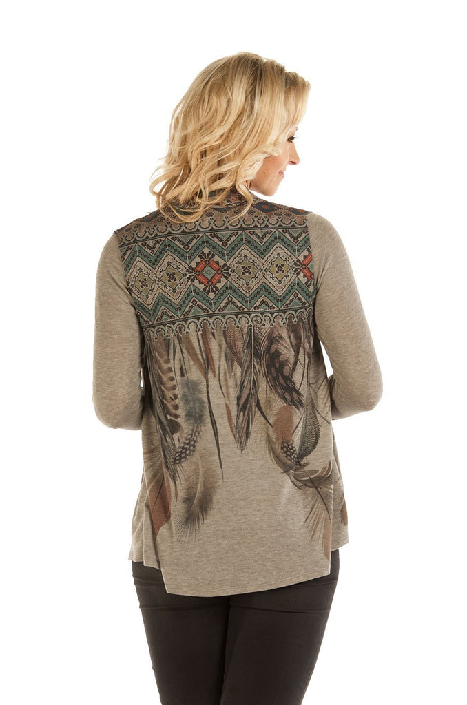 Liberty Wear Women's Cardigan with Feather Print Back