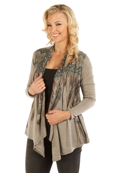 Liberty Wear Women's Cardigan with Feather Print Front
