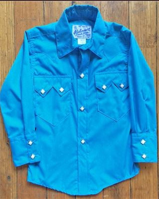 Rockmount Ranch Wear Childrens Western Shirt Solid Turquoise Front