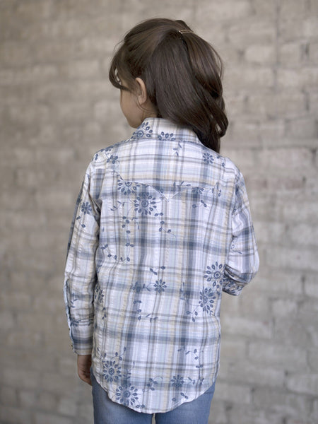 Rockmount Ranch Wear Childrens Western Shirt Plaid Eyelet Blue Front