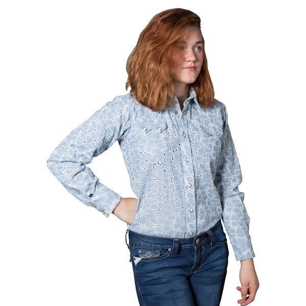 Rockmount Ranch Wear Children's Eyelet Chambray Front
