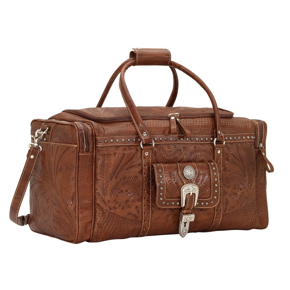 American West Handbag, Retro Rodeo Bag Luggage Light Brown Side