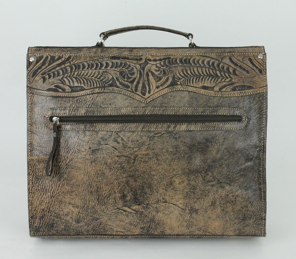 American West Handbag, Retro Travel Luggage, Laptop Briefcase Distressed Grey Back