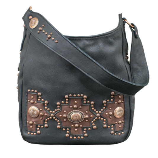 American West Handbag Southwest Style Black Front