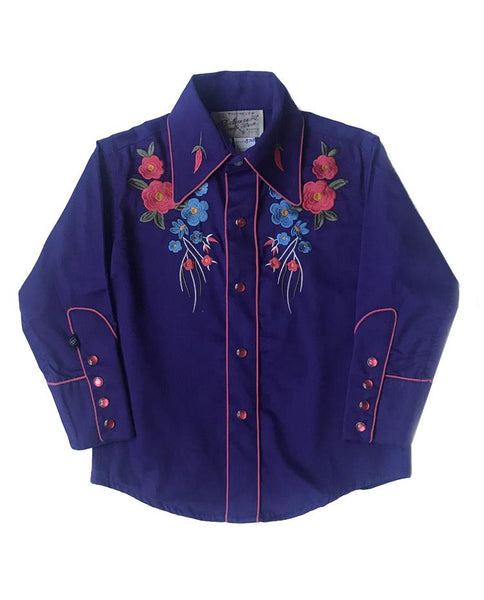Rockmount Ranch Wear Children's Western Shirt Floral Embroidery Purple Front