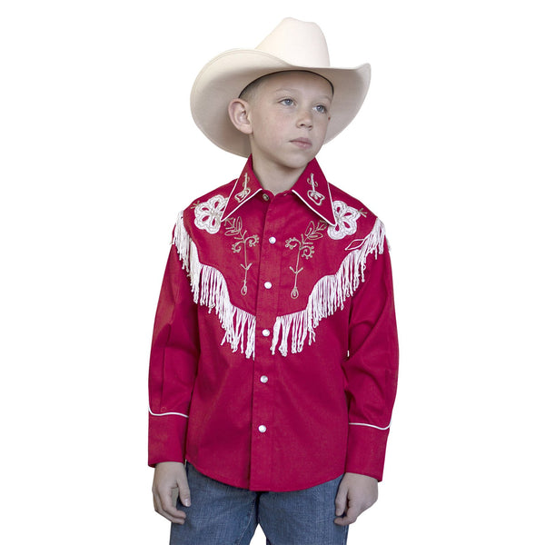 Children's Rockmount Ranch Wear Fringe Shirt Black on Model