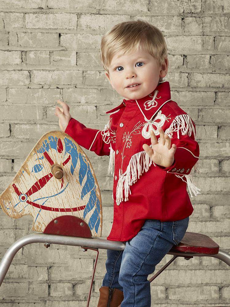 Childrens Rockmount Ranch Wear Fringe Shirt Red on Model