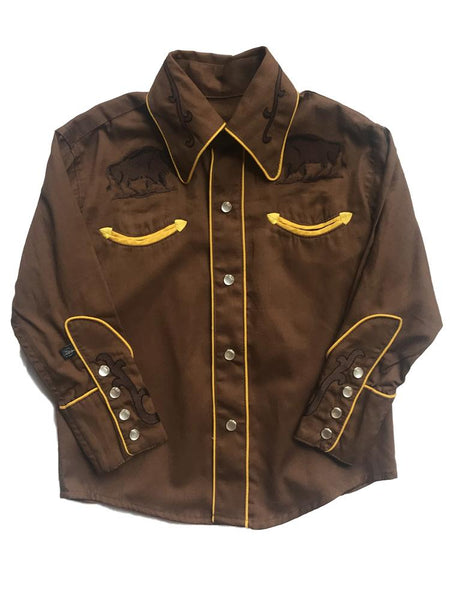 Rockmount Ranch Wear Childrens Fancy Western Shirt Bison Front