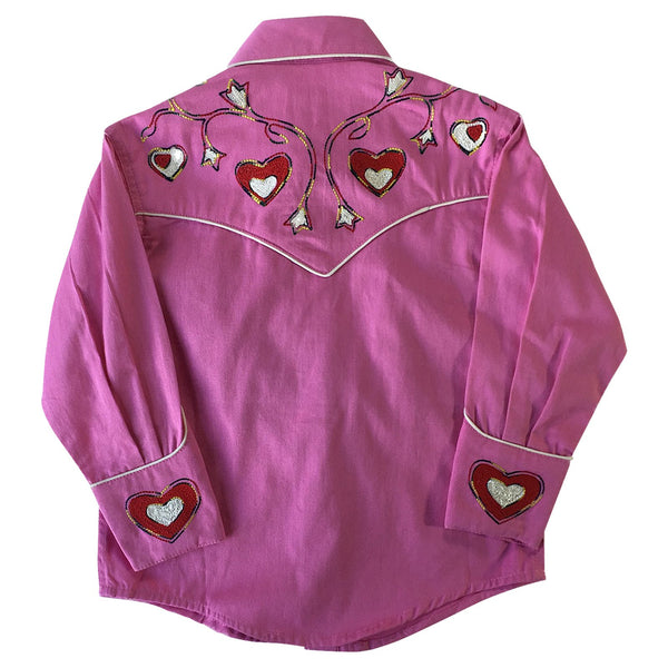 Rockmount Ranch Wear Children's Western Embroidered Shirt Hearts Pink Front