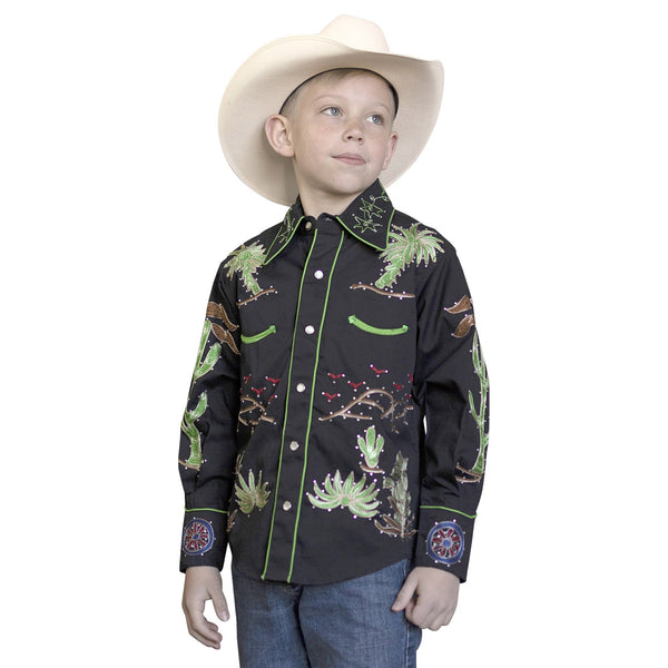 Rockmount Ranch Wear Children's Western Shirt Palm Trees, Wagon Wheels Front #178755