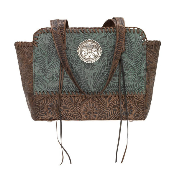 American West Handbag, Annie's Secret, Zip Top Tote Turquoise Front